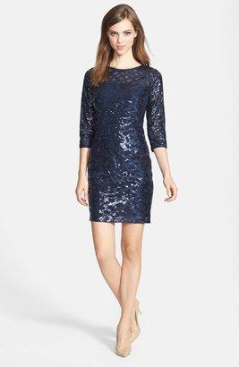 Aidan Mattox Aidan by Long Sleeve Sequin Dress