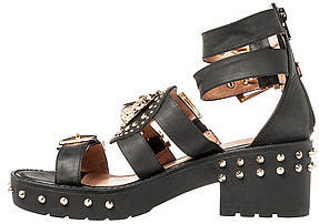 Jeffrey Campbell The Mynt Sandal in Black and Gold