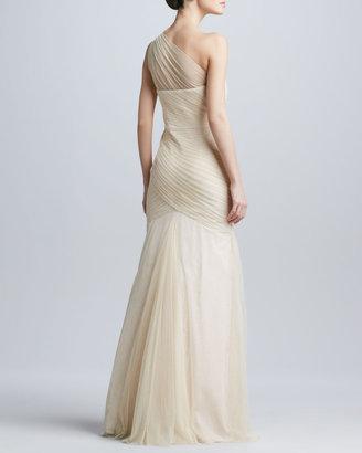 Monique Lhuillier ML One-Shoulder Tulle Gown