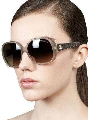 Roberto Cavalli Taj Soft Square Sunglasses, Beige/Python