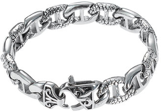 Stainless Steel & Black Cracked Link Toggle Bracelet