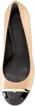 Tory Burch Pacey Cap-Toe Wedge Pump, Beige