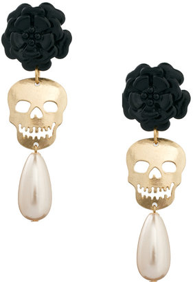 Asos Skull and Flower Drop Earrings