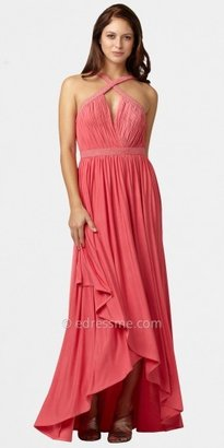Aidan Mattox Criss-cross High-low Ruffle Prom Dresses with Beaded Straps