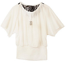 Amy Byer Girls' 7-16 Ivory Lace Back Top