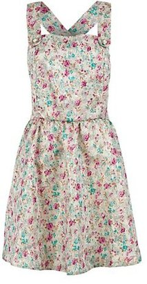 New Look Miss Real Pink Green and Cream Floral Print Pinafore Dress