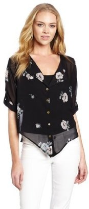 Myne Women's Button Up Blouse With Epelets On Sleeve