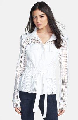 Rachel Roy Eyelet Trim Cotton & Silk Jacket