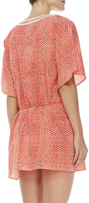 Tory Burch Savu Floral-Print Short-Sleeve Tunic Coverup