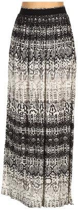 Kenneth Cole New York - Python Stripe Micro Pleated Maxi Skirt (Black Combo) - Apparel