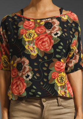Plenty by Tracy Reese Nosegay Floral Boat Neck Blouse