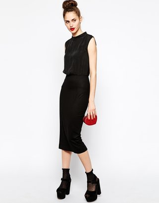 Love Moschino Sleeveless Collar Neck Jersey Mix Dress