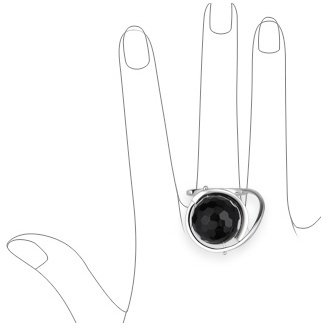 Nuovegioie Black Faceted Ball Sterling Silver Fashion Ring