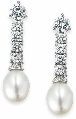 Arabella Bridal Cultured Freshwater Pearl (8mm) and Swarovski Zirconia (3-5/8 ct. t.w.) Drop Earrings in Sterling Silver