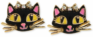 Betsey Johnson Antique Gold-Tone Cat Stud Earrings
