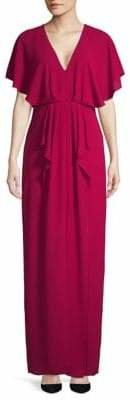 Halston H V-Neck Ruffle Gown
