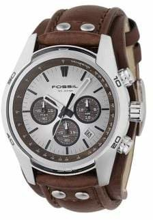 Fossil Mens Tan Dial With Brown Leather Strap Watch