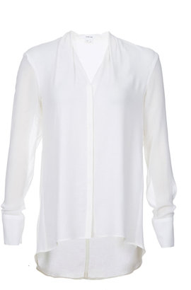 Helmut Lang Long Sleeve Button Front Blouse