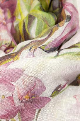 Dolce & Gabbana Floral-print modal, linen and silk-blend scarf