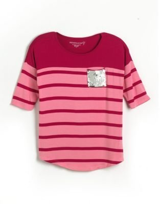 Design History Girls 7-16 Sequin-Pocket Striped Top