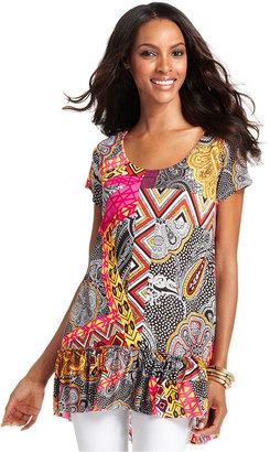 Style&Co. Top, Cap-Sleeve Printed Ruffle-Hem Tunic