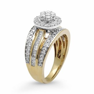 Diamond halo engagement ring in 10k gold (1 ct. t.w.)