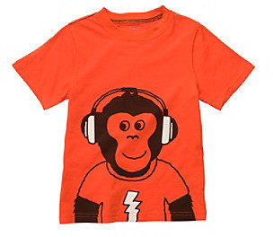 Carter's Boys' 2T-7 Orange Short Sleeve Monkey with Headphones Tee