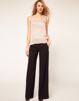 Asos Wide Leg Pants With Button Detail