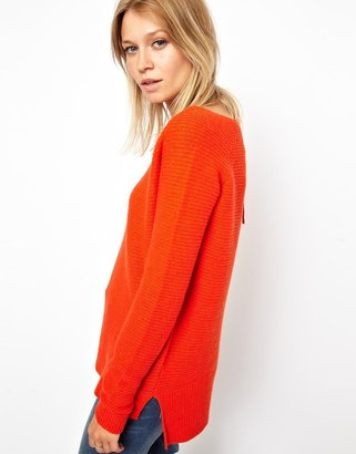 Asos Ribbed V Neck Sweater In Lambswool
