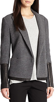 Theory Antonito Amazing Leather-Trimmed Wool & Cashmere-Blend Blazer
