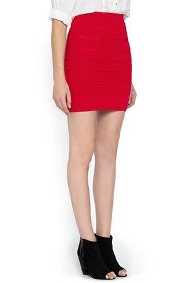 MANGO Striped texture knit skirt