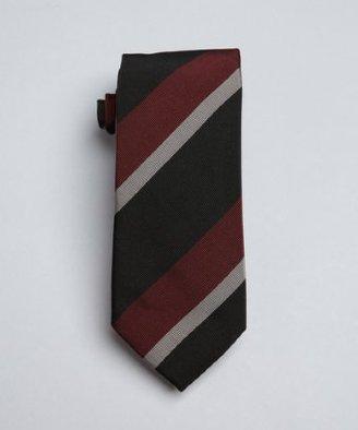 Prada maroon, steel and black bias stripe silk tie