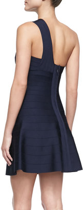 Herve Leger Sydney Flare-Skirt Bandage Dress