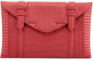 Hudson Reece Bowery Oversized Croc-Embossed Clutch Bag, Raspberry