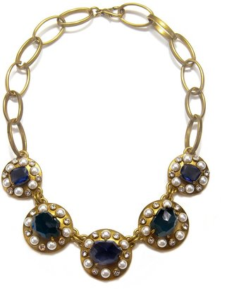 Gerard Yosca Blue and Pearl Statement Necklace