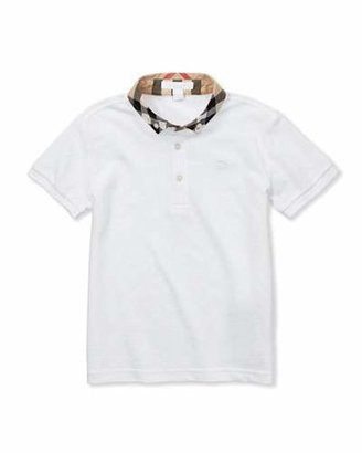 Burberry William Check-Collar Polo, White, 4Y-10Y $80 thestylecure.com