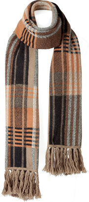 Mulberry Black/Multi Color Check Knitted Scarf