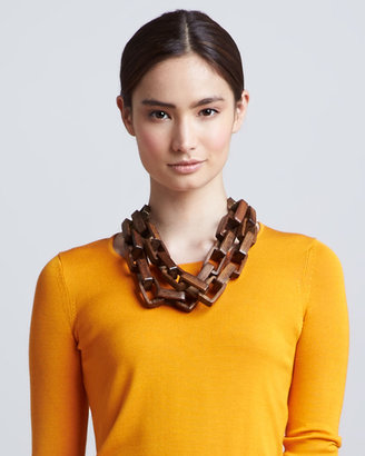 Lela Rose Wooden Chain Necklace