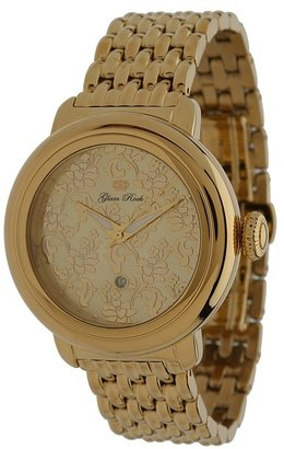 Glam Rock 40mm Gold Plated Flower Applique Dial Watch with 7-Link Bracelet - GR77025 Watche