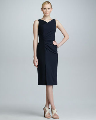 Carolina Herrera High-Neck Colorblock Dress, Black/Navy