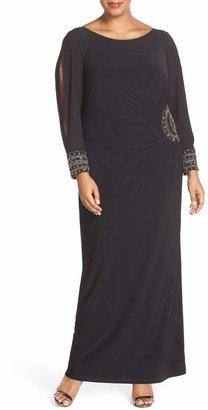 Xscape Evenings Embellished Stretch Jersey Long Dress