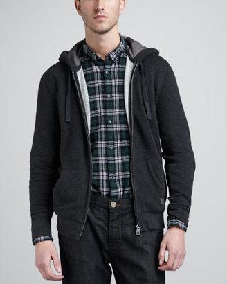 Burberry Jersey Zip Hoodie, Dark Charcoal, Melange