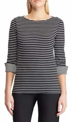 Chaps Petite Striped Cotton Top