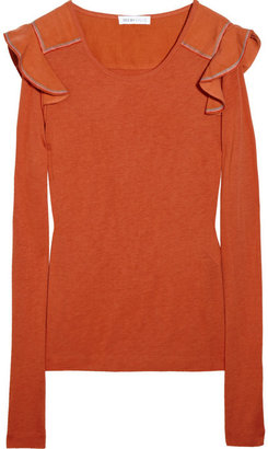 See by Chloe Ruffle-embellished jersey T-shirt