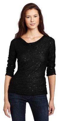 Calvin Klein Jeans Women's Drape Neck Sequin Sweater