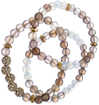 Blu Bijoux Set of Three Gold Crystal and Grey Beaded Bracelets