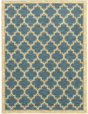 "Shaw Living Area Rug, American Abstracts Collection 01400 Milazzo Blue 1'8"" x 6' Runner Rug"