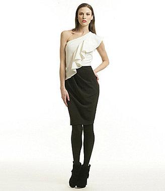 Badgley Mischka Belle One-Shoulder 2-Fer Dress
