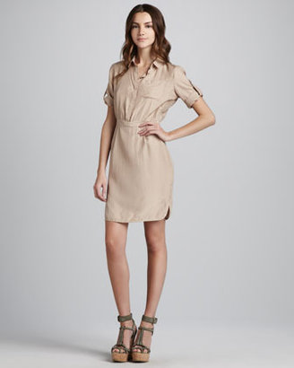 Burberry Short-Sleeve Silk Shirtdress