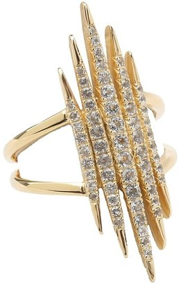Elizabeth and James Northern Star Tip Statement Ring with White Topaz (Gold Plated/White Topaz) - Jewelry